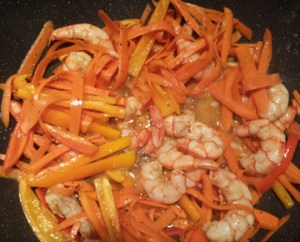 shrimp, carrots and red, yellow & orange peppers