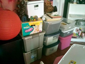 boxes full of my artist PR, memorabilia, my grandmother's travel photo albums & my children's artwork