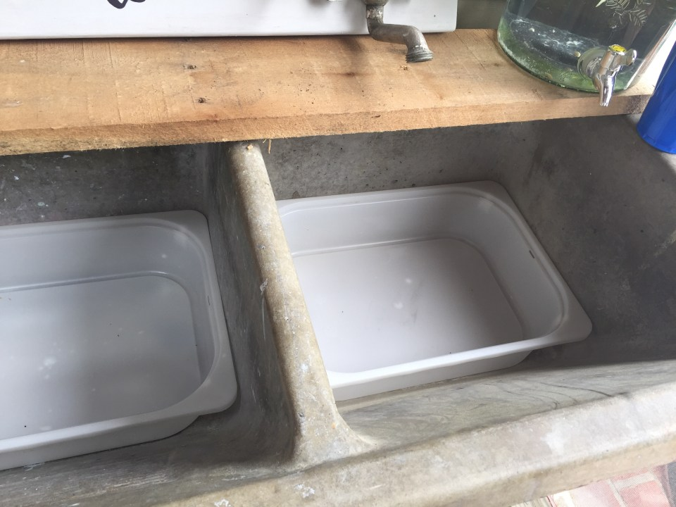 Concrete sink drinks bar