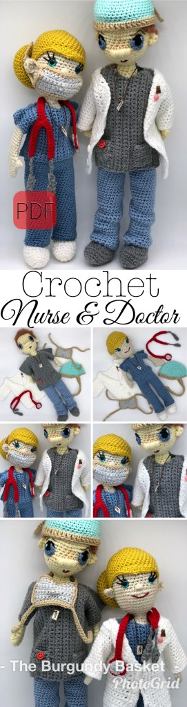 18 Doll Doctor Scrubs Crochet PDF pattern doll scrub | Etsy | 1024x271