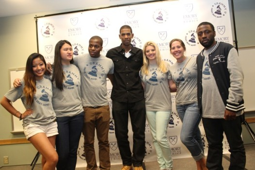 Grammy Award-nominated go-to sound engineer Gimel 'Young Guru' Keaton who has worked with artists like Jay-Z, Beyonce, Jack White, Little Brother, Alicia Keys and T.I. takes a photo with GrammyU participants. (PHOTO: DJ Blak Magic)