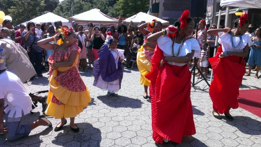 Dancers perform African dances and song at the first Afro Latino Festival of New York held in Brooklyn. (Photo Credit: Natalie Diaz)