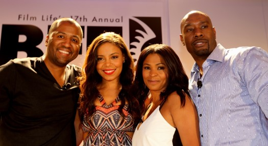 The Best Man Holiday director Malcolm D. Lee with cast members Sanaa Lathan, Nia Long and Morris Chestnut.  (Photo Credit: Wilson Morales)