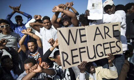 African migrants enter the fourth day of protests against Israel's parliament. (Photo Credit: The Guardian)