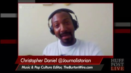 The Burton Wire's Deputy Editor Christopher A. Daniel interviews Tavis Smiley and Marc Lamont Hill on HuffPost Live. (Screen Shot)