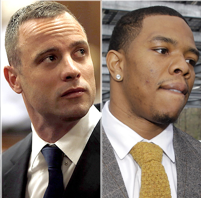 Convicted killer and paralympian Oscar Pistorius and former NFL player Ray Rice.  (Photo Credit: Google Images)