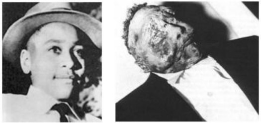 Juxtaposed images of murdered teen Emmett Till from when he was alive and his body after he was found dead. (Google Images)