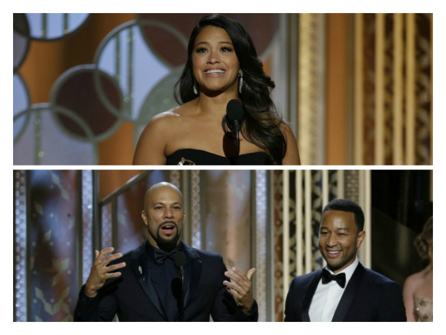 2015 Golden Globe winners Gina Rodriguez and Common and John Legend. (Google Images)