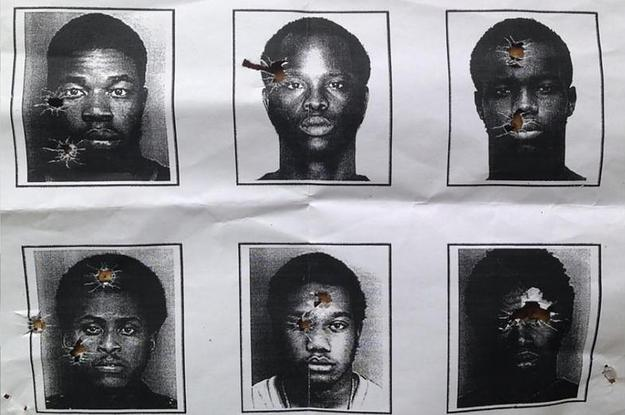 Mugshots of black men are used for target practice by N. Miami Police officers.  (Google Images)