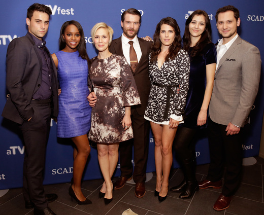 "ATLANTA, GA - FEBRUARY 07: Actors Jack Falahee, Aja Naomi King, Liza Weil, Charlie Weber, Karla Souza, Katie Findlay, and Matt McGorry attend SCAD Presents aTVfest - Awards Presentation & ABC's ""How To Get Away With Murder"" on February 7, 2015 in Atlanta, Georgia. (Photo by Cindy Ord/Getty Images for SCAD)"