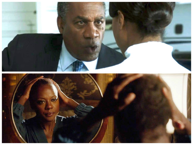 Daddy Pope (Joe Morton) and Olivia Pope (Kerry Washington) on Scandal (top); Viola Davis as Annalise Keating on HTGAWM.  (Photos: ABC)