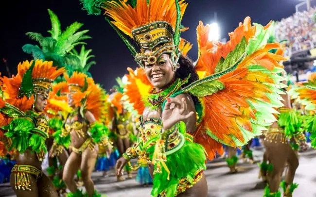 A Carnival Samba group dances in the streets of Rio de Janeiro.  (Photo: Telegraph UK)