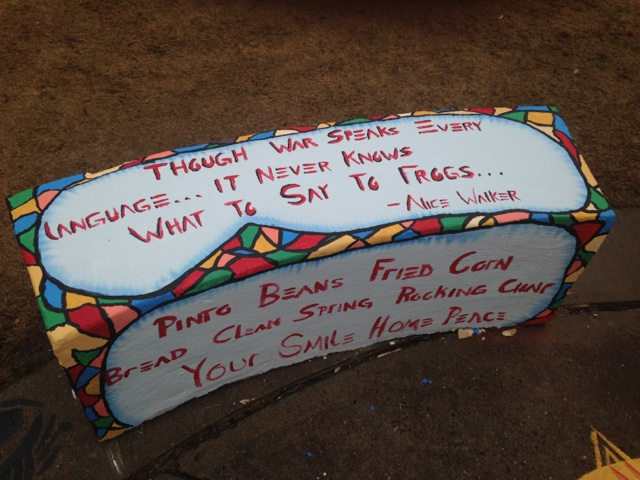 A peace bench from the dedication ceremony for poet/activist Dr. Sonia Sanchez at Clark Atlanta University.  (Photo Credit: Christopher A. Daniel)