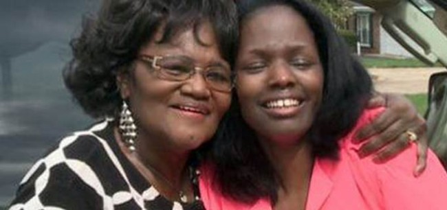 Zella Jackson Price is reunited with her daughter Melanie Diane Gilmore, who was taken from her at birth. (Photo: Google Images)