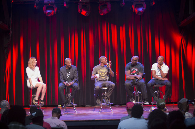 NPR Music's Microphone Check hosts Frannie Kelley (l.) and Ali Shaheed Muhammad (far right) interviews songwriting/production team Organized Noize at Terminal West in Atlanta. (Photo Credit: Amanda Greene/NPR)