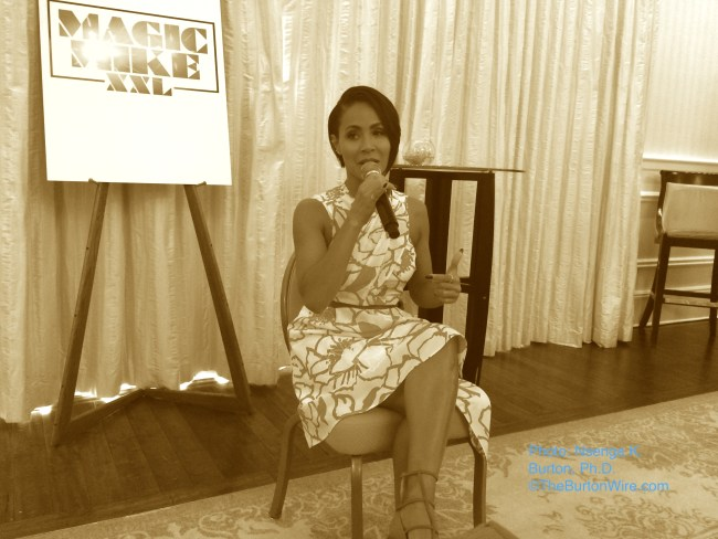 Actress/activist Jada Pinkett-Smith discusses Magic Mike XXL at the St. Regis in Atlanta.  (Photo: Nsenga K. Burton, Ph.D., the Burton Wire)