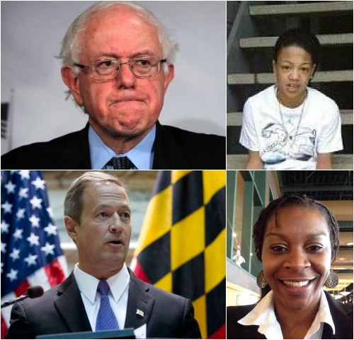 Democratic presidential hopefuls Bernie Sanders (top) and Martin O'Malley (bottom), Kindra Chapman, 18 (right top) and Sandra Bland, 28 (bottom right) were found dead while in jail custody.  (Photo: Google Images)