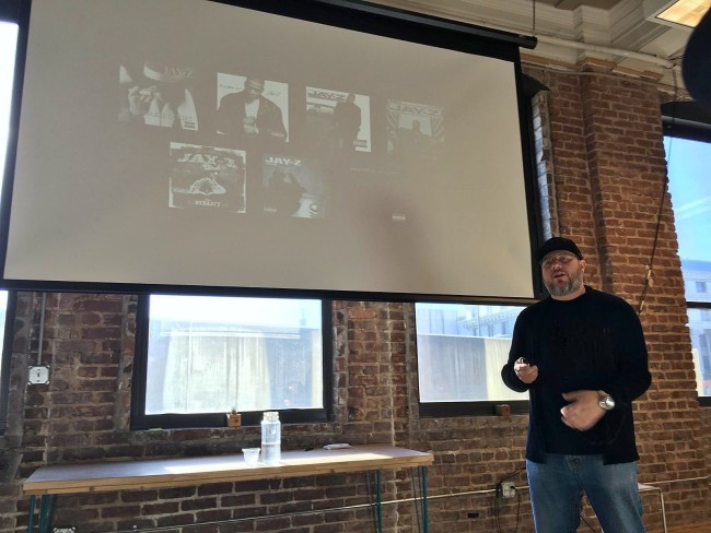 Hip-hop photographer Jonathan Mannion gives lecture at the Center for Civic Innovation in Atlanta (Photo Credit: DJ Blak Magic).