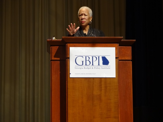 PolicyLink founder and CEO Angela Glover Blackwell delivers the keynote speech at this year's Georgia Budget & Policy Institute conference (Photo courtesy of GBPI).