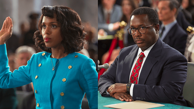 Actors Kerry Washington (Anita Hill) and Wendell Pierce (Supreme Court Justice Clarence Thomas) star in HBO's political made-for-TV film 'Confirmation' (Photo Credit: HBO).