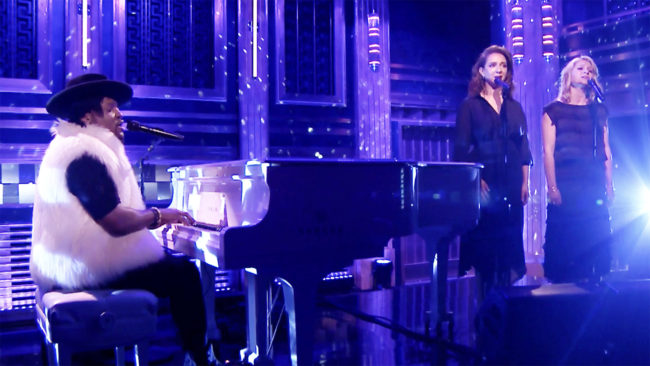 D'Angelo and Princess perform 'Sometimes it Snows in April' on The Fallon Show. (Google Images)