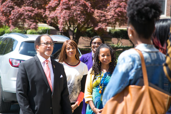 Dr. Benjamin Chavis, President and CEO of NNPA, Yanick Rice Lamb, Associate Professor; Chair of Department of Media, Journalism and Film at Howard University, Michelle Matthews-Alexander General Motors Diversity Marketing Manager, and Gracie Lawson-Borders, Dean, School of Communications address NNPA/Chevy DTU fellows at Howard University. (Photos: The Carol Williams Agency)