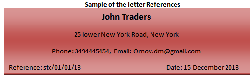 Sample of the letter References