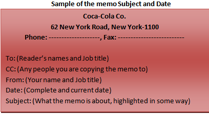 Sample of the memo Subject and Date