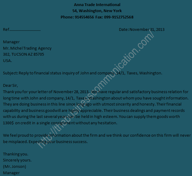 of reply letter to business status inquiry letter – Sample of Letter of Inquiry in Business