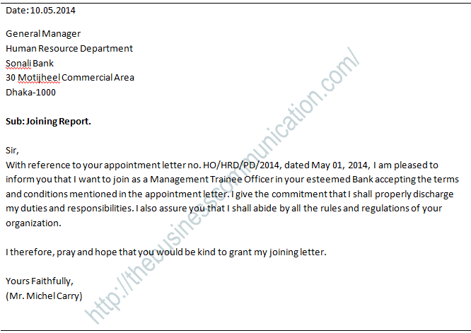 What is joining letter specimen of joining letter related what is appointment letter altavistaventures Images