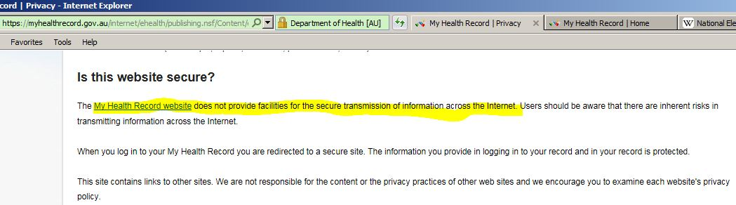Governement Privacy Disclaimer