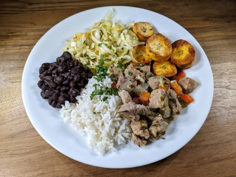 Casado with Cabbage Salad and Stewed Pork