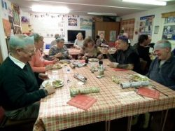 Christmas meal being enjoyed