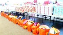 Christmas hampers and extra food ready to go