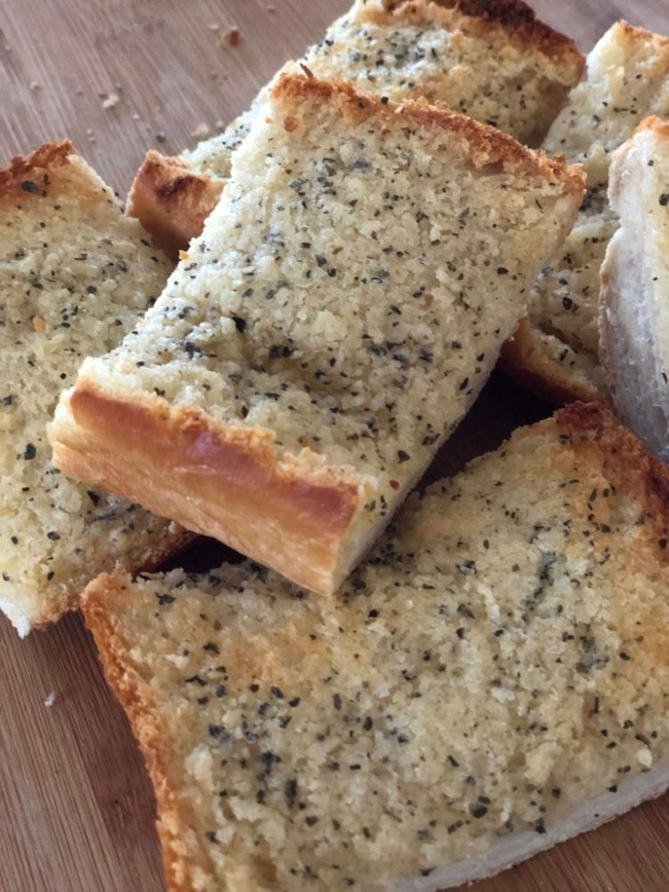garlic bread made with Garlic-Basil Parmesan Butter Spread