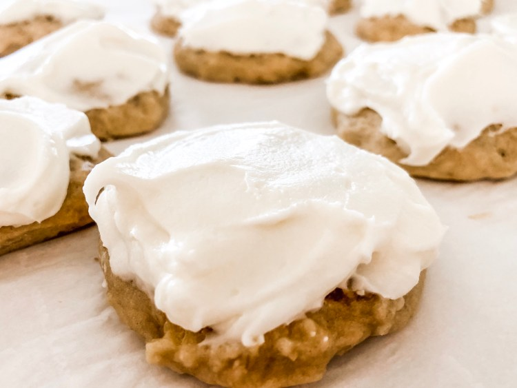 Soft Banana Cookies with Cream Cheese Frosting