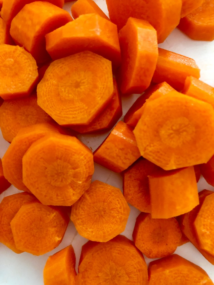 Carrots diced and peeled for slow cooker pork chops