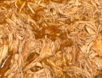 Clsoe up shot of Copycat Cafe Rio Slow Cooker Shredded Chicken