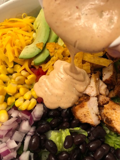 Tex-Mex BBQ Chicken Salad  with bbq ranch dressing and taco toppings