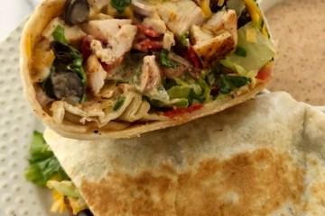 Southwest Chicken sandwich cut in half ready to eat