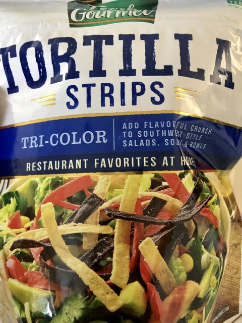 Tortilla strips for southwest chicken wraps