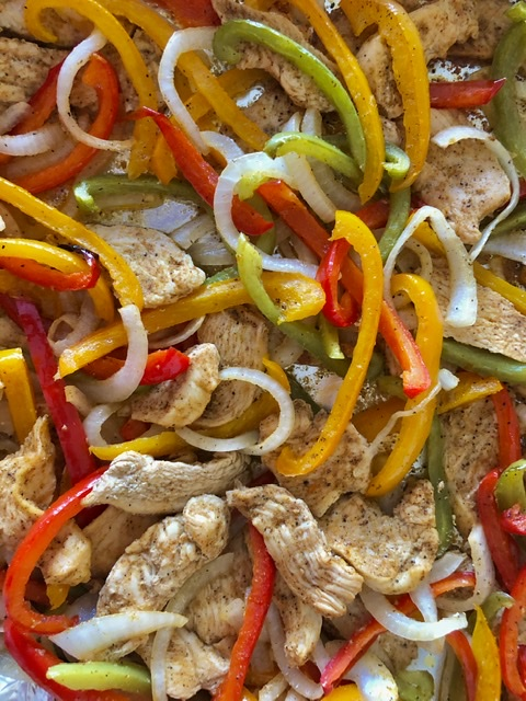 cooked easy sheet pan chicken fajitas