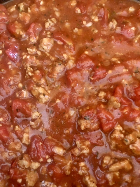 thickened slow cooker spaghetti sauce, thickened with a cornstarch slurry