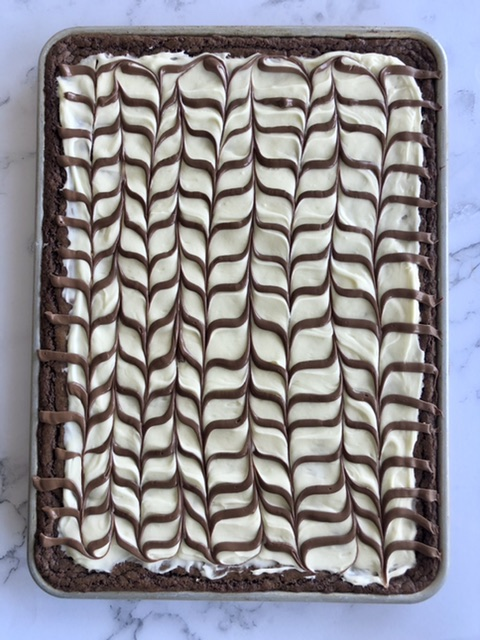 above shot of sheet pan brownies