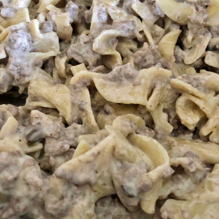 up close shot of stroganoff made with ground beef