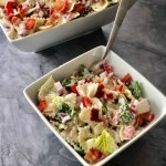 a bowl of BLT Ranch Pasta Salad next to a large bowl of BLT Ranch Pasta Salad