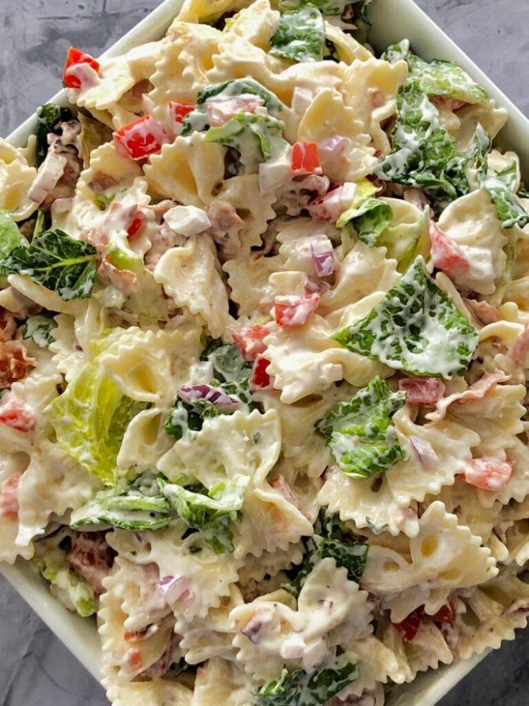 close up above shot of BLT ranch pasta salad