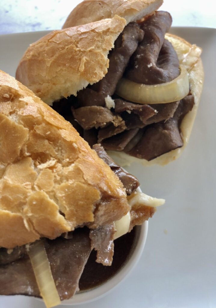up close shot of the French Dip sandwich