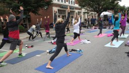 Yogis stretched on Mass Ave.
