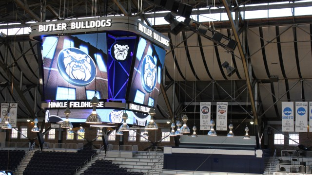 The 2010 and 2011 Final Four Banners hang in the background of the new video scoreboard at Hinkle Fieldhouse. Photo by Amy Street
